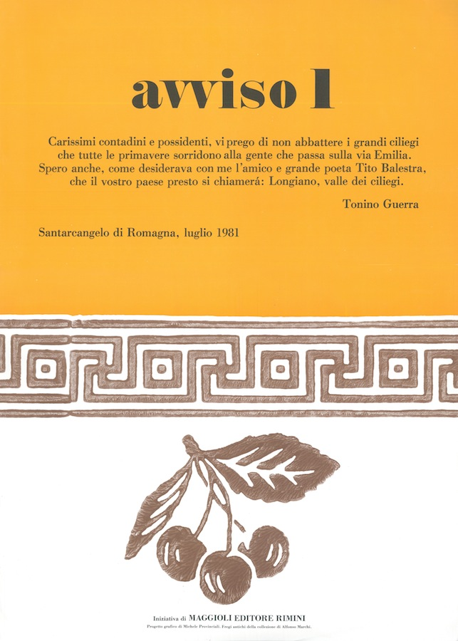 Gli avvisi ed i manifesti di Tonino Guerra alla cittadinanza: avviso 1