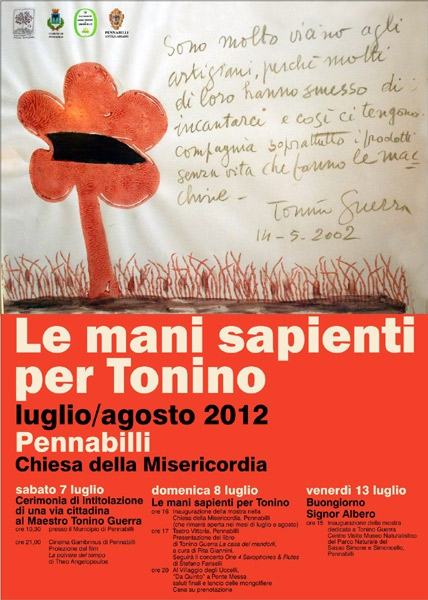 Manifesto Le mani sapienti per Tonino Guerra per gli artigiani
